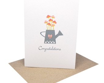 Congratulations Card - Watering Can with Flowers - CON010