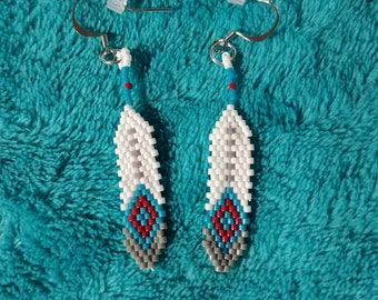 Second little delica feathers /native american beaded earrings