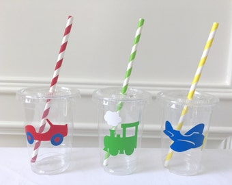 Transportation Party Cups, Transportation Party Favors, Things That Go Birthday, Train Cups, Cars Birthday Favors, First Birthday Favors