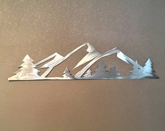 3 ft. Rocky Mountain National Park. Metal Wall Art. Estes Park Colorado. Hand cut mountain range with evergreen trees. Living room - kitchen