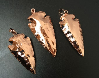 Full Rose Gold Plated Arrowheads Arrow Head Pendant Charm , You can choose - Wholesale price of 1, 3, 5, 10 (S8_B49)