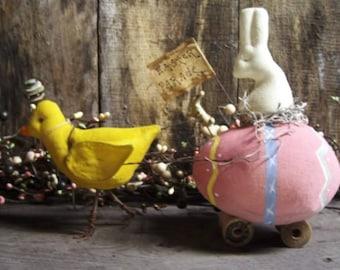 Primitive Easter Rabbit/ primitive Easter egg/chocolate rabbit/Easter Parade/Egg Cart/Primitive Easter Chick/primitive easter bunny/