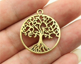 4 Tree of Life Charms, Antique Gold Tone Charms (1C-86)