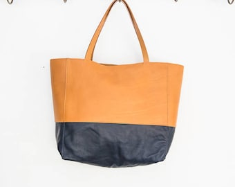 Large Tote Bag Leather Gold and Metalic Black