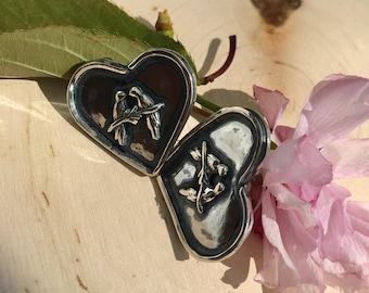 Sterling Silver Lovebird Studs