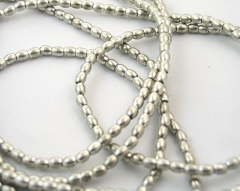 Silver Oval (Egg) 5 mm Beads from India (20 beads)
