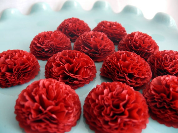 Button mums tissue paper flowers cranberry red wedding bridal button mums tissue paper flowers cranberry red wedding bridal shower baby shower decor from zobedesigns on etsy studio mightylinksfo