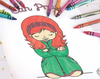 I Can Pray Girl Coloring Page - Printable