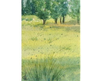 Original Painting ACEO watercolor - Rest in the clearing