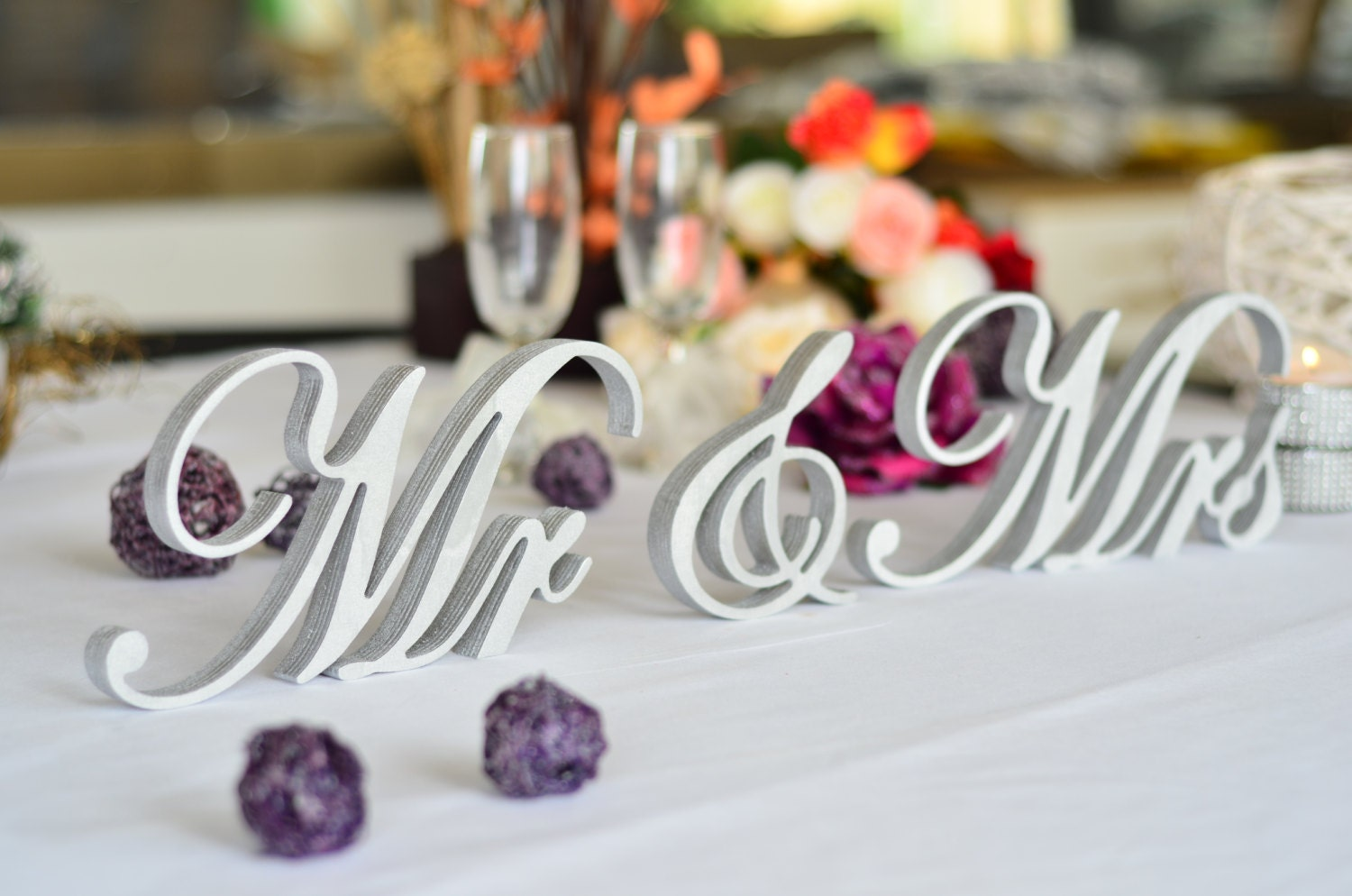 Mr. and. Mrs. signs. Wedding signs. Top table centerpice.