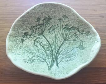 ON SALE Botanical Pottery Trinket Dish Handmade Dill Design  Design Candy Dish Nut Dish Dresser Dish Soap Dish Signed Estate Item Vintage