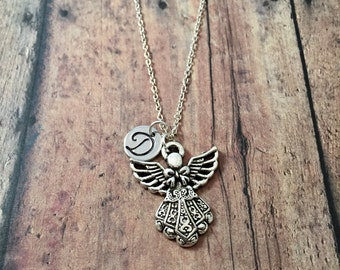 Angel initial necklace - angel jewelry, memorial necklace, Christian necklace, heaven necklace, gift for Christian, silver angel necklace