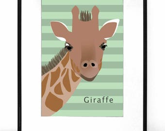Giraffe Print, PRINTABLE wall art, Nursery Art, Animal print