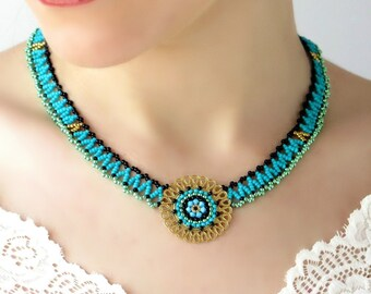 Turquoise and gold necklace, Necklace turquoise, Mandala necklace, Seed bead necklace, Choker necklace, Ethnic necklace, Beaded necklace
