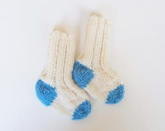 Infant Baby Socks, Newborn Baby Gift, Hand Knit Warm Winter Clothing 0-3 Months, Handmade Gift, Gender Neutral Baby Shower Gift Boy or Girl