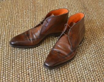 Elegant Genuine Leather Italian SANTONI Luxury Men's Limited Edition Costume Shoes Size EU 42,5  US 9 Free Shipping