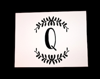 "Q Initial Greeting Cards -4.25x5.5"" A2 Blank Cards- Black & White Calligraphy Monogram Initial - Includes FREE A2 Envelope Template"