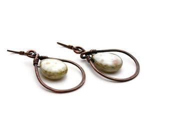 Oxidized Hammered Copper Teardrop Earrings, Spotted Teardrop Bead Earrings, Niobium Ear Wires, Teardrop Hoop & Teardrop Beads, Teardrops