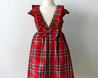 Holiday Dress, Plaid Dress, Red Dress, Toddler Dress, Girls Dress, Christmas Dress, Red & Green Dress, Girls Holiday Dress, Red Plaid Dress