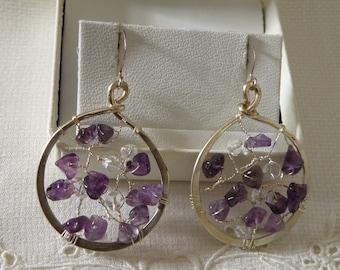 Sterling Silver Amethyst Dream Catcher Earrings