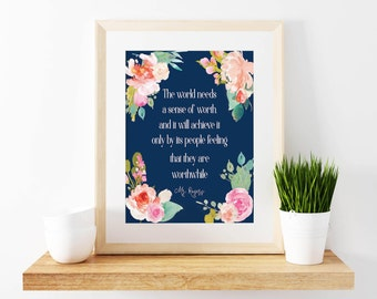 Social Worker-Mr. Rogers-Quote-Floral-Navy Blue-Typography-Inspirational Print-8x10-Office Decor-Motivational-Change the World