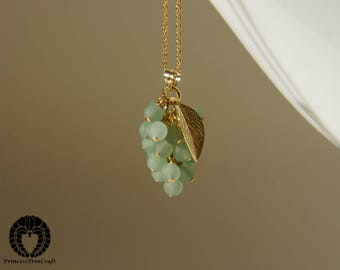 Frosted green aventurine muscat grape pendant with 14K gold on 925 sterling silver pendant chain