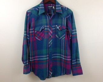 Vintage Wrangler Plaid Pearl Snap Wool Blend Cowboy Western Shirt - Size Large / XL - Made in USA