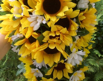 Large Cascading Sunflower and Daisy Bouquet, Waterfall Wedding Flowers