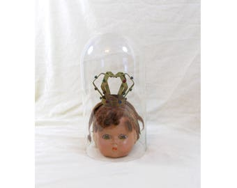 Vintage Doll Head in a Glass Dome - Creepy Doll Head - Vintage Doll Head