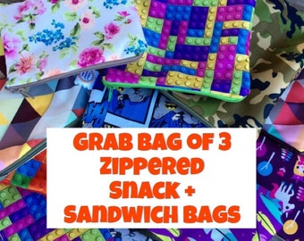 Snack Bags, Sandwich Bags, Zippered Reusable Snack Bags, Grab Bag of 3 - Water Resistant/Dryer Safe!