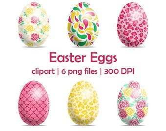 Sale Easter Egg Clipart, Scrapbook digital download Spring Clip Art, Graphic colorful easter eggs, Digital clipart, Commercial Use