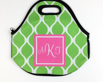 Personalized Design Your Own Neoprene Lunch Tote - Choice of Pattern, Color, Frame & Monogram - Lunch Bag, Office School Gift