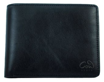 Fashionable purse from genuine leather with coin banknote and card case in brown   real leather wallet