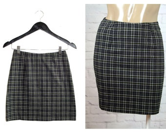 Gray Plaid Mini Skirt   90s Vintage Wrapper Striped Checkered Tartan Skirt   Size Small
