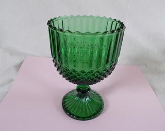 Vintage Green Glass Footed  Candy Dish