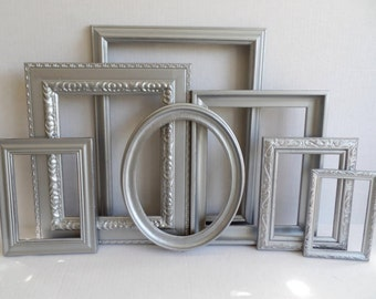 Silver Picture Frames Set - Baby Nursery Frames - Ornate Romantic Wedding - Metallic - Vintage Collection - Shabby Chic - Gallery Wall