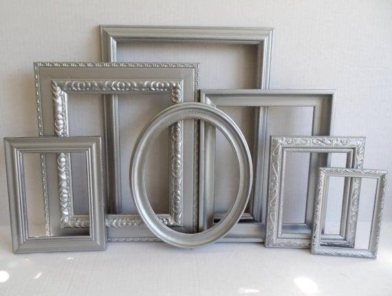 Silver Picture Frames Set - Baby Nursery Frames - Ornate Romantic ...