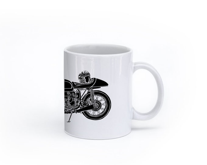 KillerBeeMoto:  U.S. Made Limited Release German Engineered Vintage Cafe Racer Motorcycle Side View Coffee Mug (White)