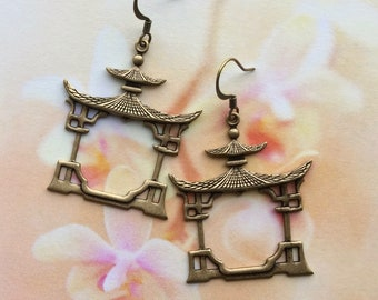Pagoda Earrings - Asian Jewelry - Buddhist Earrings - Buddhist Jewelry - Tao Jewelry - Spiritual Jewelry - Zen Jewelry - Yoga Jewelry