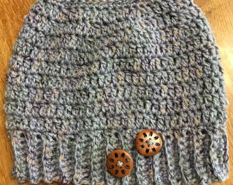 Crocheted Messy bun/ponytail hat