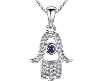 925 Sterling Silver Hand Of Fatima Hamsa Aquamarine crystal Pendant Necklace