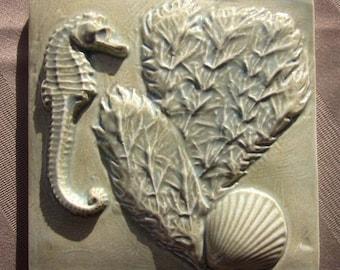 Seahorse and Seaweed Ceramic Tile -- 4x4 SeaShore Tile, MADE TO ORDER, seahorse, seashell, beach, sea shore, ocean, bathroom tile, kitchen