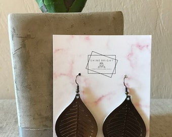 Large Bronze Leather Leaf Earrings