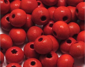 Set of 50 wood 8mm red round beads