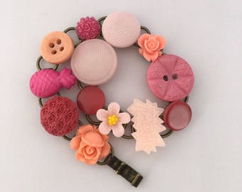 peachy pink buttons and bits bracelet