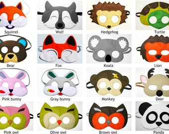 5 felt animal masks zoo forest woodland party favors (2years-adult) Dress up play Photo booth props Birthday gift boy girl YOU CHOOSE STYLES