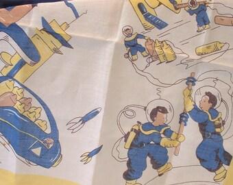 Vintage Adorable Astronauts and Rocket Ship Hankie Handkerchief