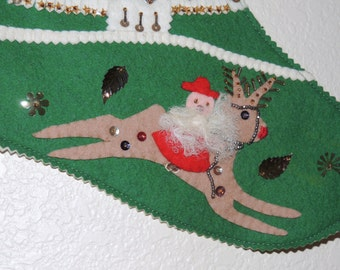 "1950s Embellished Felt Christmas Stocking ""PA"""