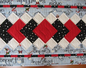 Quilted Table Runner, Echoes #6, Snowmen on Blue FREE SHIPPING