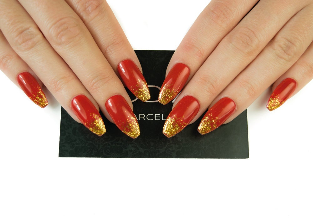 Red with Gold Tips Nails Fake Nails Press On Nails Uv Gel